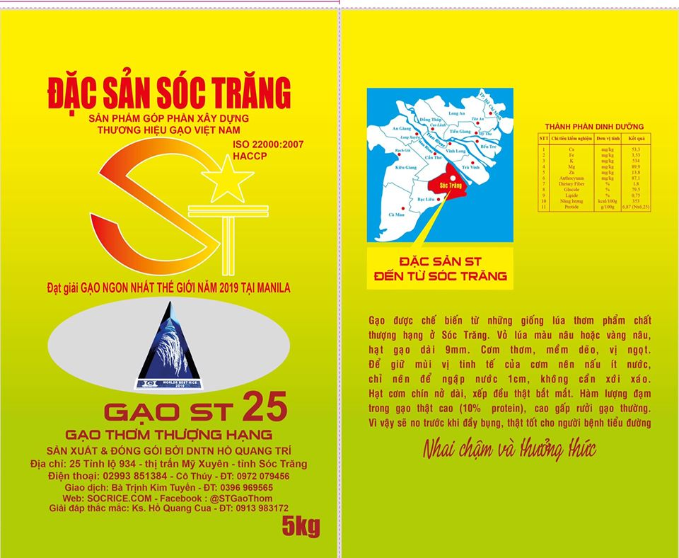 Thiết kế bao bì gạo ST25 mới sau khi đạt giải Gạo Ngon Nhất Thế Giới